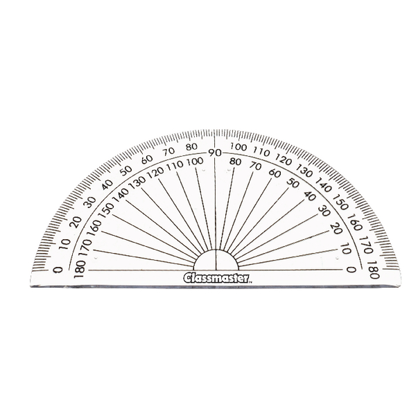 Pack of 10 Helix 10cm 180 Degree Protractor Reverse Scale